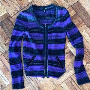 Purple black grey stripe cashmere sweater